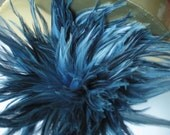 "3"" strip Strung Rooster Saddles Furnace feathers - Denim Blue - individual feather about 3.5"" long"