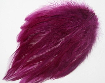 Selling Out Rooster Hackle Feather Pad for hair accessories or other projects - BURGUNDY