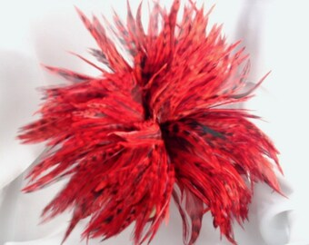"2"" strip of Strung Chinchilla Rooster Feathers in red with black (individual feathers about 5.5"")"