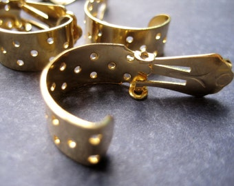 Clip On Earrings - Mash Band - In Gold tone - 12 pieces (6 pairs)