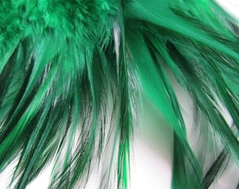 "3"" strip of Green Strung Rooster Furnace Saddles Feathers (individual feather around 3-4"")"