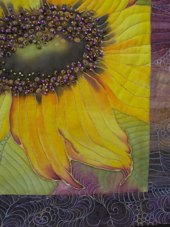 Sunflower Art Quilt  Hand Painted Quilted Wall Hanging