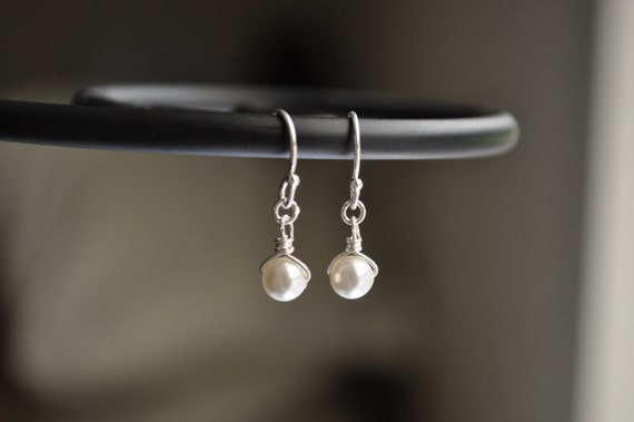 Tiny Pearl Earrings - white swarovski pearl sterling silver dangle simple wedding jewelry - adenandclaire