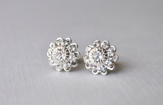 Katherine Earrings - Swarovski Crystal Rhinestone Silver Filigree Post - Simple Wedding Jewelry