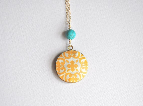 Sunshine Locket Necklace - long, round locket,  yellow, turquoise, & gold - simple modern jewelry - adencreations