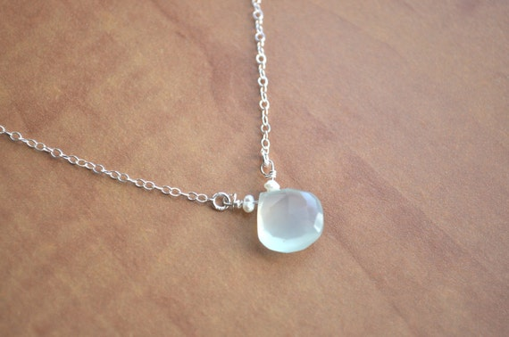 Seafoam Necklace - light green chalcedony stone sterling silver heart briolette solitaire - ON SALE - simple everyday jewelry