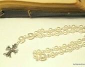 Anglican Prayer Beads-White Swarovski Pearls with Silver Cross