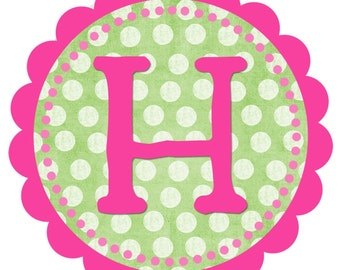 Printable Hot Pink and Lime Green Scalloped Birthday Banner\/Cheap\/Easy\/Chic\/Cute\/Princess Party