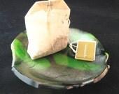 Tea Bag Dish Green Fused Glass