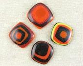 Concentric Squares Fused Glass Magnet Set
