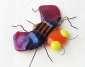 Fused Glass Bee Magnet  Yellow Black Red