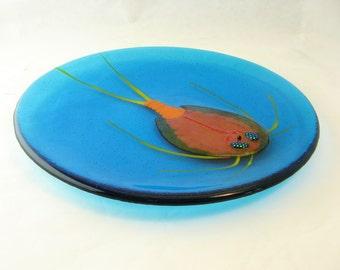Tadpole Shrimp Fused Glass Plate Blue Orange: Made to Order
