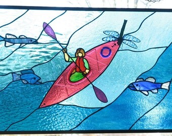 Kayak with Fish and Dragonfly Stained Glass Panel: Made to Order