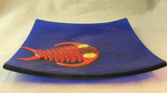 Trilobite Fused Glass Plate:  Made to Order