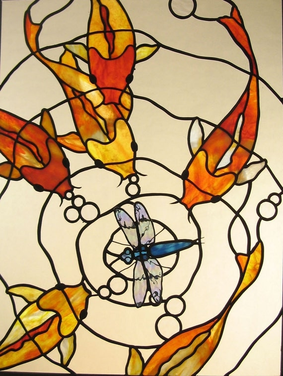 Koi with dragonfly stained glass panel made to order for Stained glass fish patterns