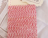Thin Red and White Baker's Twine - 20 yards