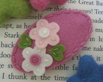 Felt hair clips, Felt flower, Baby girl, Hair accessories, Felt hair bows, School hair clips, Wool felt, Hair barrettes, Pink, Girls gift