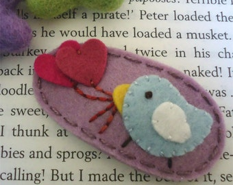 Felt hair clip -NO slip -Wool felt -Pale blue bird and hearts -lilac
