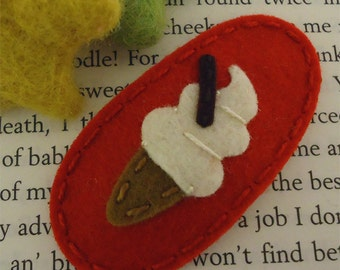 NO SLIP Wool felt hair clip -Ice cream -red