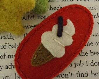 Felt hair clip -No slip -Wool felt -Ice cream -red