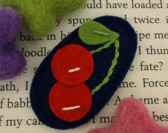 Felt hair clip -No slip -Wool felt -Red cherry -navy