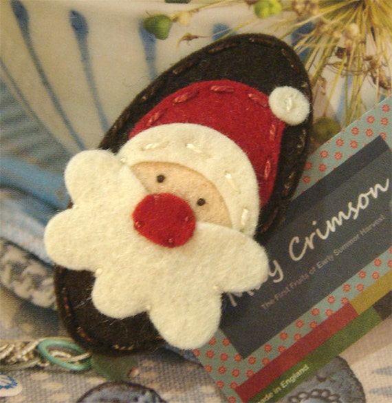 Wool felt hair clip -Santa father christmas -brown