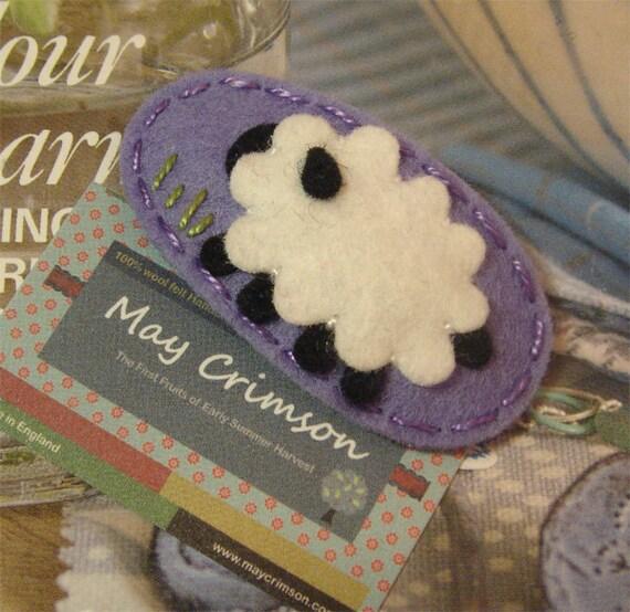 NO SLIP Wool felt hair clip -Sheep on the farm -lavender