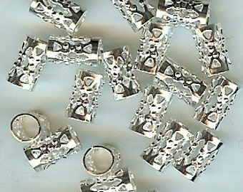 Filigree Tube Bead  Silver Plated  20pk 4mm hole, NICKEL FREE