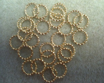 10mm fancy jumpring gold plated 25pk twisted