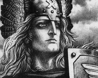Valkyrie Shield Maiden Othala Odal Runes Art Print