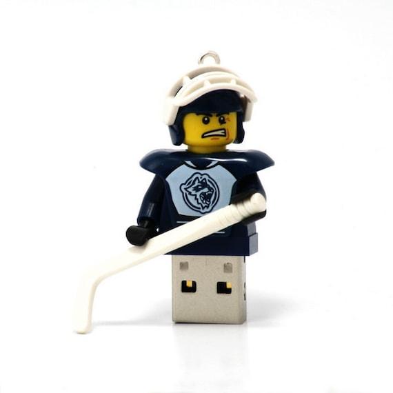 16GB USB Memory Drive in a Hockey Player original LEGO(r) minifigure
