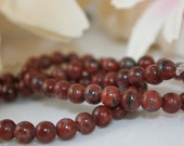 Red Sesame Jasper Gemstone Beads 16 inch Strand 6mm