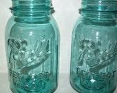 10 Vintage Aqua Blue Ball Mason Quart  Canning Fruit JARS Perfect for  Wedding Lanterns