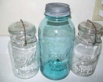 3 Vintage OLD Glass Top Ball Mason Aqua Blue Canning Jars 4 Wedding Tree Lanterns Centerpieces