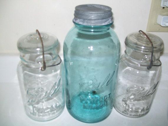 Items similar to vintage old glass top ball mason aqua