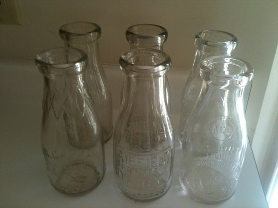 Vintage quart glass milk bottles jar perfect wedding
