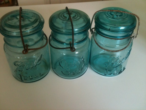 3 Blue Ball Mason Glass Top Pint Jars W Wire Closures Canning