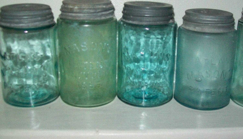 5 vintage antique blue pint mason jars w old zink lids perfect. Black Bedroom Furniture Sets. Home Design Ideas