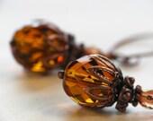 Harvest Earrings - Warm Honey Amber Czech Glass Bead Earrings in Antiqued Copper
