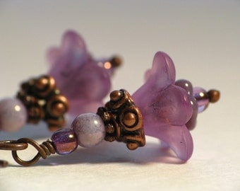 Violets of the Glade - Lucite Flower Earrings in Antiqued Copper