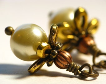 Golden Blossoms - Antiqued Brass and Glass Pearl Earrings