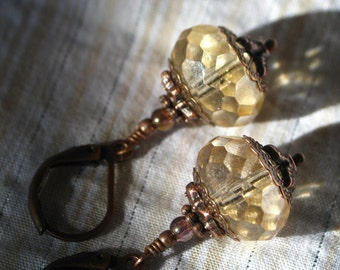 Melody - Vintage Style Czech Glass and Antiqued Copper Earrings