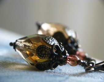 LAST PAIR - Ophelia - Romantic Smoky Grey Teardrop Earrings - Vintage Style - Czech Glass and Antiqued Brass