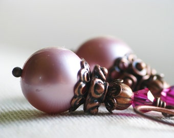 The Fairy Queen's Jewels - Rosy Pink Swarovski Crystal Pearl Earrings in Antiqued Copper