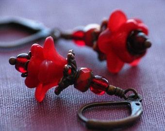 Bright Red Layered Flower Earrings in Antiqued Copper