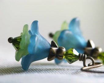 Teal and Olive Green Lucite Flower Earrings in Antiqued Brass