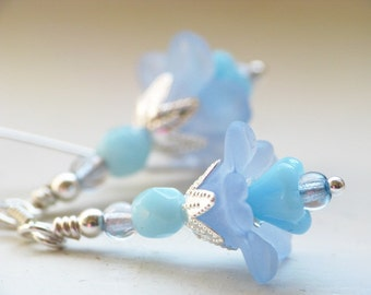 Little Sky Blue Lucite Flower Earrings in Sterling Silver