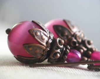 Sweet Pink Cats Eye Glass Earrings