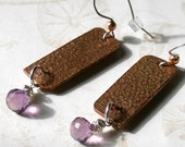 Handmade copper earrings, handmade sterling silver,  amethyst earrings-OOAK