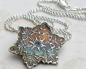 Silver snowflake necklace, handmade fine silver pendant set with a blue spinel-OOAK